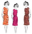 girl floral dresses vector image