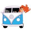 Hippie Girl Riding Vintage Blue Van Cartoon vector image