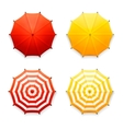 isolated red and yellow beach umbrellas top view vector image