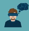 man wearing head-mounted display vector image