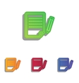 Paper and pencil sign Colorfull applique icons vector image