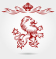 red engraving lion and crown sketch vector image