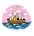 Cute little hares and hedgehog floating in a boat vector image