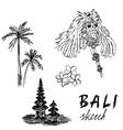 Bali sketch Temple Barong palms frangipani vector image
