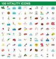 100 vitality icons set cartoon style vector image