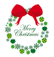 green Advent wreath with rew bow isolated vector image