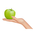hand with apple vector image vector image