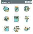 Icons line set premium quality of fitness diet vector image