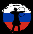 archer warrior silhouette on russia flag and black vector image