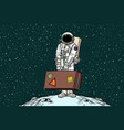 astronaut traveler with travel suitcase vector image