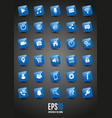 blue glossy interface 3d icons vector image