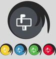 Mailbox icon sign Symbol on five colored buttons vector image