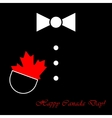 suit with bow tie maple leaf and text vector image