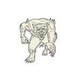 Werewolf Monster Running Mono Line vector image