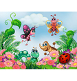 A garden with insects vector image vector image