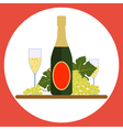 Sparkling wine bottle with wineglasses and grape vector image