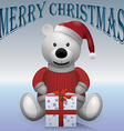 Teddy bear white in red sweater red hat with vector image