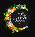 Vegan food concept design with vegetables vector image