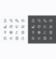 usiness icons set flat line design for Web vector image