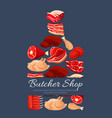 meat and butchery products poster vector image vector image