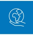 Hand holding the Earth line icon vector image