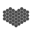 Black honeycomb set in shape of heart Beehive vector image