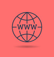 linear icon of www on globe vector image