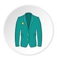 Men green jacket icon cartoon style vector image