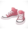 Pink sports sneakers with white laces vector image
