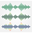 Set of sound waves icons made with cubes vector image