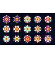 set of vintage blue flowers vector image