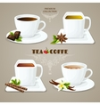 Tea and coffee cups set vector image