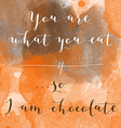 You are what you eat so I am chocolate motivation vector image