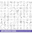 100 creative icons set outline style vector image
