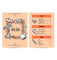 vintage creative food menu with hand drawn graphic vector image
