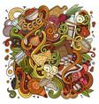 cartoon cute doodles hand drawn russian food vector image