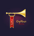realistic of shiny golden metal trumpet with red vector image