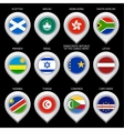 Map marker with flag-set tenth vector image vector image