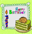 cute happy birthday cake candle cardtion vector image