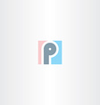 logo p square letter p sign vector image