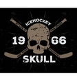 Ice hockey label vintage skull typography vector image