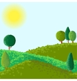 abstract landscape with sun ant trees vector image