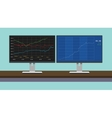 online trading stock graph in dual montior vector image