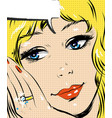 beautiful blonde smiling pop art woman comic style vector image