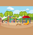 children playing in playground at daytime vector image
