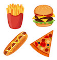 colorful icons with fast food meals isolated set vector image