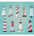 set of cartoon lighthouses Flat icons vector image