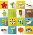 Summer rest icons set flat style vector image