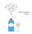 bottle of champagne explosion vector image