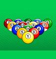 billiard balls pop art style vector image vector image